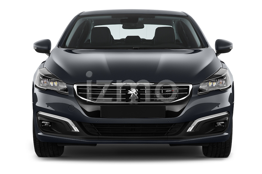 Car photography straight front view of a 2015 Peugeot 508 GT 4 Door Sedan 2WD Front View