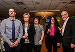 WOLCOTT, CT. 05 April 2018-040518BS08 - From left, Thomas McDonald, and mother Suzanne McDonald, who late husband is being honored with Sue Ascencao of Naugatuck, Mara Little and Scott Little of Southington enjoy themselves at the Wolcott  Chamber of Commerce awards banquet at Mahan's Lakeview in Wolcott on Thursday evening. Bill Shettle Republican-American