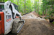 September 2013 - Trail repair work along the Lincoln Woods Trail in Lincoln, New Hampshire. This trail was damaged by Tropical Storm Irene in 2011 and is now just being repaired. Tropical Storm Irene caused destruction along the East coast of the United States, and the White Mountain National Forest was officially closed during the storm.