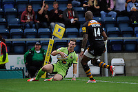 George North of Northampton Saints touches down but has his try disallowed for an earlier infringement during the Premiership Rugby Round 2 match between Wasps and Northampton Saints at Adams Park on Sunday 14th September 2014 (Photo by Rob Munro)