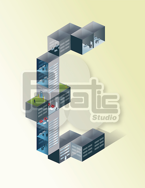 Illustration of Euro shaped building against colored background