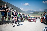 Kenny Elissonde (FRA/Trek-Segafredo) at the gravel section atop the Montée du plateau des Glières (HC/1390m)<br /> <br /> Stage 18 from Méribel to La Roche-sur-Foron (175km)<br /> <br /> 107th Tour de France 2020 (2.UWT)<br /> (the 'postponed edition' held in september)<br /> <br /> ©kramon