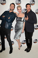 PASADENA, CA - JANUARY 8: Luke Bryan, Katy Perry, Lionel Richie at Disney ABC Television Group's TCA Winter Press Tour 2018 at the Langham Hotel in Pasadena, California on January 8, 2018. <br /> CAP/MPI/DE<br /> &copy;DE/MPI/Capital Pictures