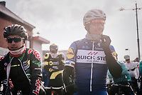 Philippe Gilbert (BEL/Quick Step floors) smiling at the start; he is here to test his (new) bike on the cobbles in race conditions (to be hyper-ready for thé big goal of the season: ...winning Paris-Roubaix!)<br /> <br /> 50th GP Samyn 2018<br /> Quaregnon > Dour: 200km (BELGIUM)