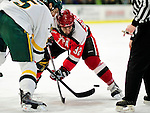 12 December 2009: St. Lawrence University Saints' forward Aaron Bogosian, a Junior from Massena, NY, takes a faceoff against the University of Vermont Catamounts at Gutterson Fieldhouse in Burlington, Vermont. The Catamounts shut out their former ECAC rival Saints 3-0. Mandatory Credit: Ed Wolfstein Photo