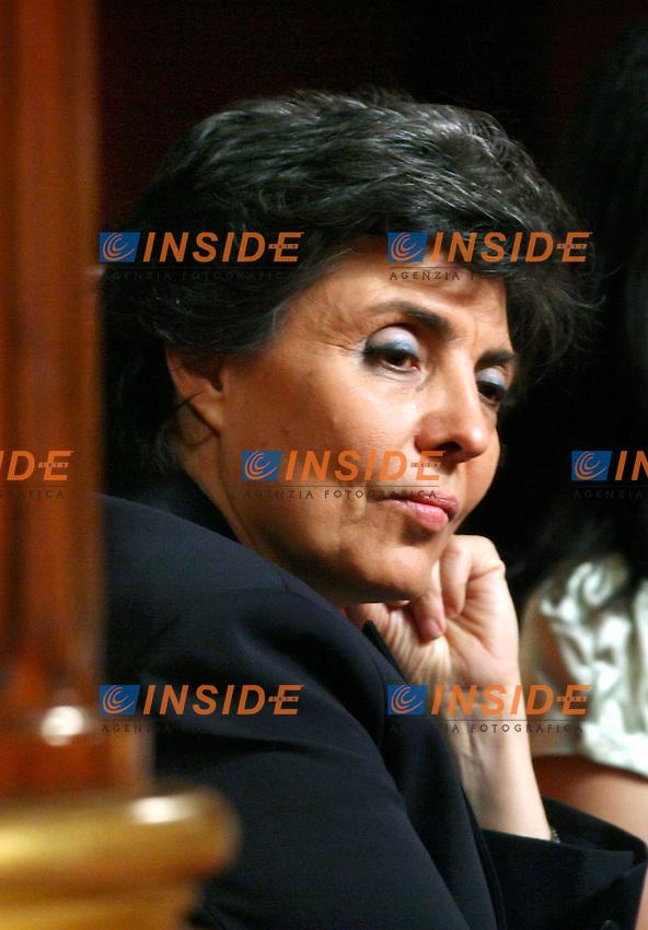 Roma, 18 maggio 2006: Senato, all'ordine del giorno il voto di fiducia al nuovo Governo di Romano Prodi.<br /> <br /> Nella foto: Flavia Prodi, moglie del neo Presidente del Consiglio, assiste alla seduta in Senato.<br /> <br /> Photo: Serena Cremaschi Insidefoto