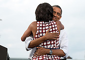 "Aug. 15, 2012.""The President hugs the First Lady after she had introduced him at a campaign event in Davenport, Iowa. The campaign tweeted a similar photo from the campaign photographer on election night and a lot of people thought it was taken on election day."" .Mandatory Credit: Pete Souza - White House via CNP"