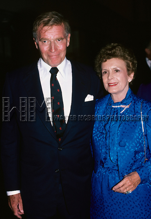 Charlton Heston and his wife pictured in Los Angeles in 1986.