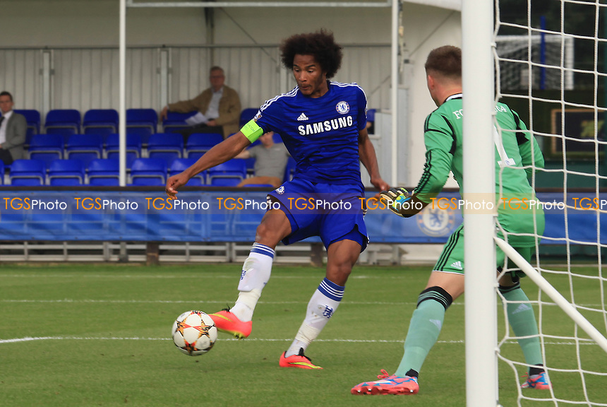 Isaiah Brown crosses the ball across the face of the goal for Ola Aina to score Chelsea's 4th goal - Chelsea Under-19 vs FC Schalke Under-19 - UEFA Under-19 Champions League Football at Cobham Training Ground, Surrey - 17/09/14 - MANDATORY CREDIT: Paul Dennis/TGSPHOTO - Self billing applies where appropriate - contact@tgsphoto.co.uk - NO UNPAID USE