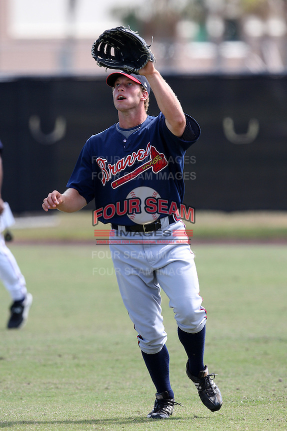 Atlanta Braves minor league outfielder Kurt Fleming (14) vs. the Houston Astros during an Instructional League game at Osceola County Stadium in Kissimmee, Florida;  October 14, 2010.  Photo By Mike Janes/Four Seam Images