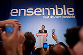Paris, France.May 6, 2007..Conservative UMP Leader and newly elected French Presidential Nicolas Sarkozy delivers a speech as he celebrates victory in the Second Round of the French Presidential Elections at a party rally held at Salle Gaveau. 85% of French voters turned out to elect Sarkozy as their next President ahead of socialist candidate Segolene Royal. Sarkozy claimed 53% of the vote.....