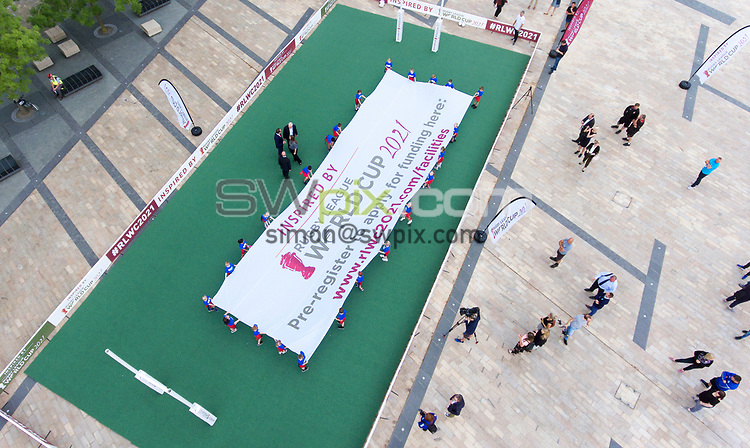Picture by Simon Wilkinson/SWpix.com 16/07/2018 - Rugby League World Cup 2021 RLWC2021 - Facilities Legacy Programme Launch Event Media City Salford Drone aerial image photograph