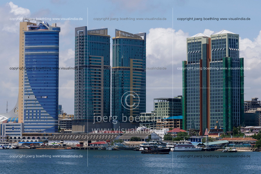 TANZANIA Daressalaam, bay and seaport, new apartment tower and ferry station to Zanzibar