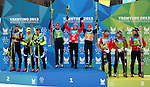Podium with SLO POL JAP at the Nordic Combined NH Team Gundersen as part of the Winter Universiade Trentino 2013 on 18/12/2013 in Lago Di Tesero, Italy.<br /> <br /> &copy; Pierre Teyssot - www.pierreteyssot.com