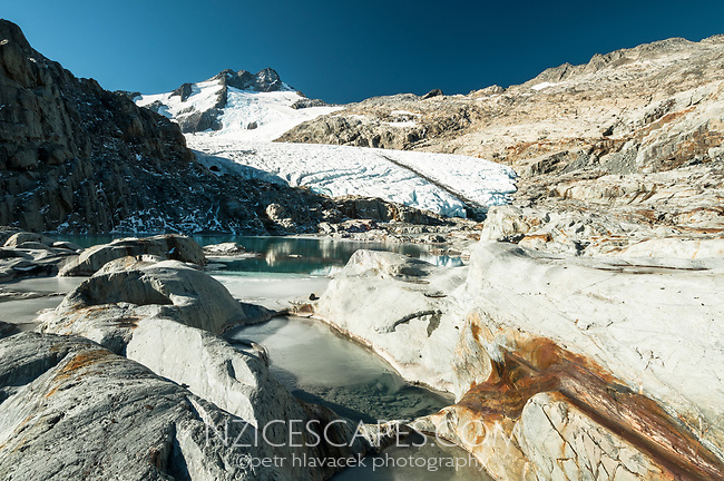 Brewster Glacier with terminal lake under Mount Brewster, Mt. Aspiring National Park, UNESCO World Heritage Area, West Coast, New Zealand, NZ
