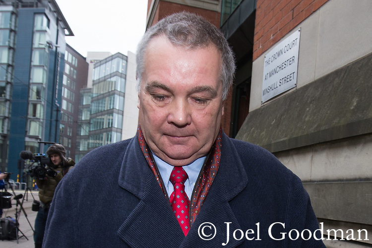 © Joel Goodman - 07973 332324 . No syndication permitted . 15/11/2013 . Manchester , UK . ALAN LEDGER leaves Minshull Street Crown Court in Manchester today (15th November 2013) .  Ledger is charged alongside Ray Teret , Jimmy Savile 's former chauffeur and flatmate and William Harper . Photo credit : Joel Goodman