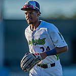 29 August 2019: Vermont Lake Monsters outfielder Kevin Richards returns to the dugout during a game against the Connecticut Tigers at Centennial Field in Burlington, Vermont. The Lake Monsters fell to the Tigers 6-2 in the first game of their NY Penn League double-header.  Mandatory Credit: Ed Wolfstein Photo *** RAW (NEF) Image File Available ***