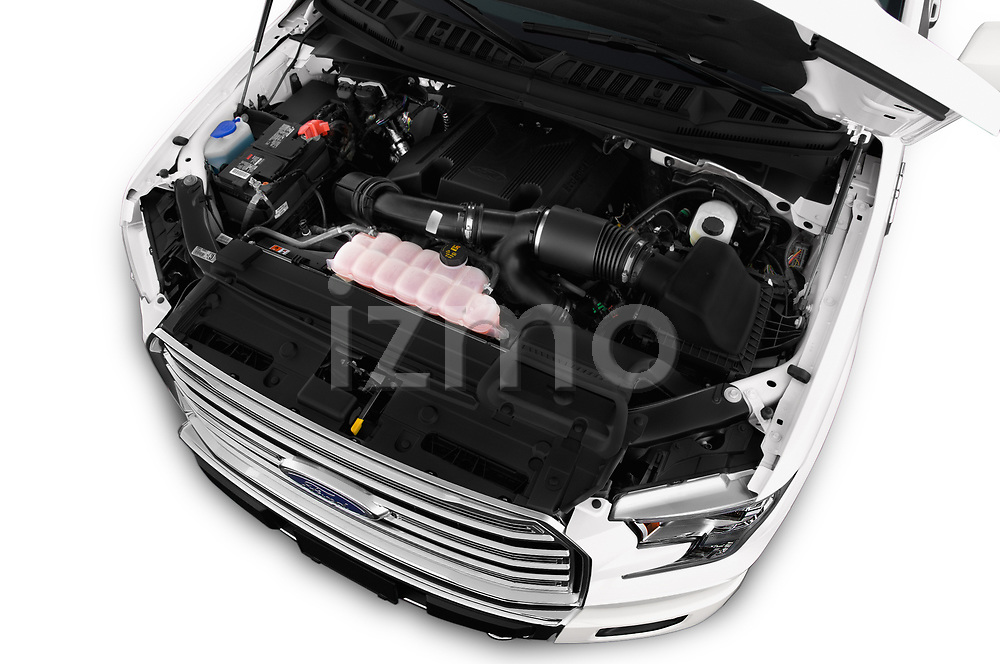 Car Stock 2017 Ford F-150 Limited-SuperCrew 4 Door Pickup Engine  high angle detail view