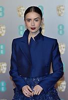 LONDON, UK - FEBRUARY 10:  Lily Collins at the 72nd British Academy Film Awards held at Albert Hall on February 10, 2019 in London, United Kingdom. <br /> CAP/MPIIS<br /> ©MPIIS/Capital Pictures