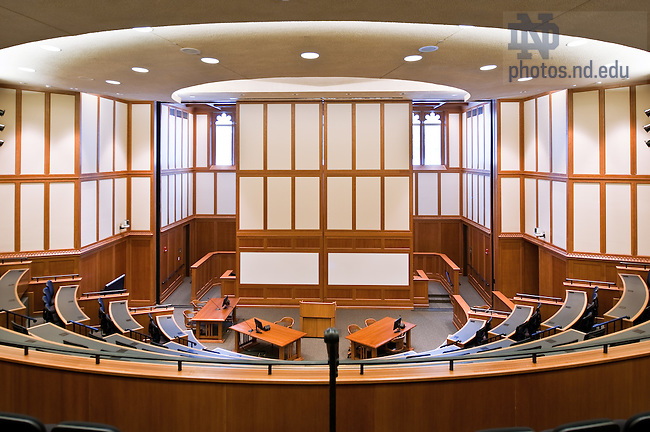 Courtroom of the Eck Hall of Law with white boards in classroom configuration..Photo by Matt Cashore/University of Notre Dame