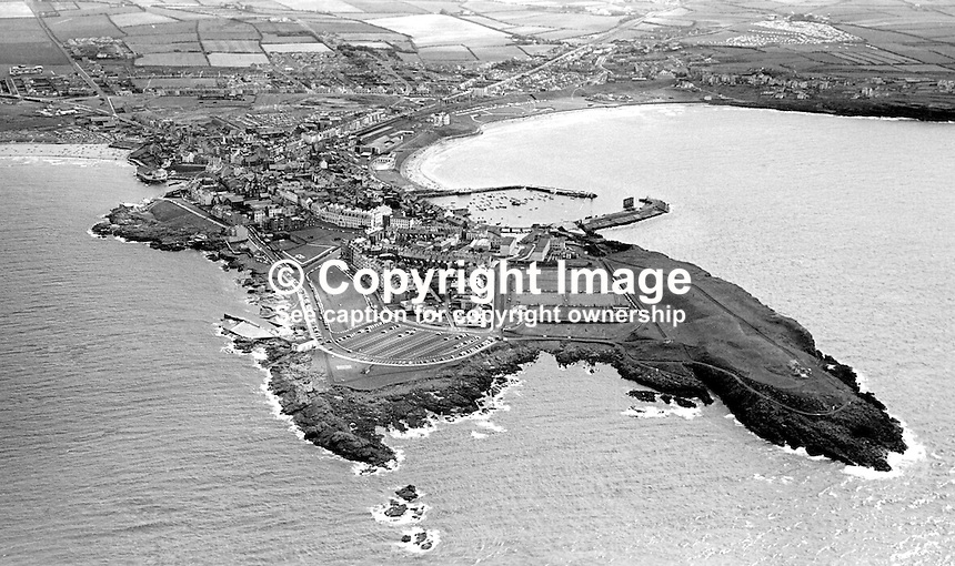 Aerial view of Portrush, Co Antrim, N Ireland, UK, taken 4th August 1976. 197608040336AV2<br />