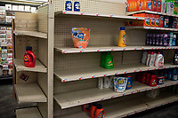 NEW YORK, USA - MARCH 13: Bare shelves left after people buy supplies at Manhattan supermarkets, after president Donald Trump  speech to the nation declaring a national emergency in the face of the coronavirus pandemic on March 13, 2020 in New York, USA  (Photo by Joana Toro/ VIEWpress via Getty Images)