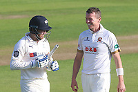 Peter Siddle of Essex exchanges words with Johnny Bairstow after dismissing him for 50 during Essex CCC vs Yorkshire CCC, Specsavers County Championship Division 1 Cricket at The Cloudfm County Ground on 4th May 2018