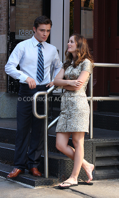 WWW.ACEPIXS.COM . . . . .  ....July 9 2009, New York City....Actors Ed Westwick and Leighton Meester on the set of the TV show Gossip Girl in Soho on July 9 2009 in New York City....Please byline: AJ Sokalner - ACEPIXS.COM..... *** ***..Ace Pictures, Inc:  ..tel: (212) 243 8787..e-mail: info@acepixs.com..web: http://www.acepixs.com