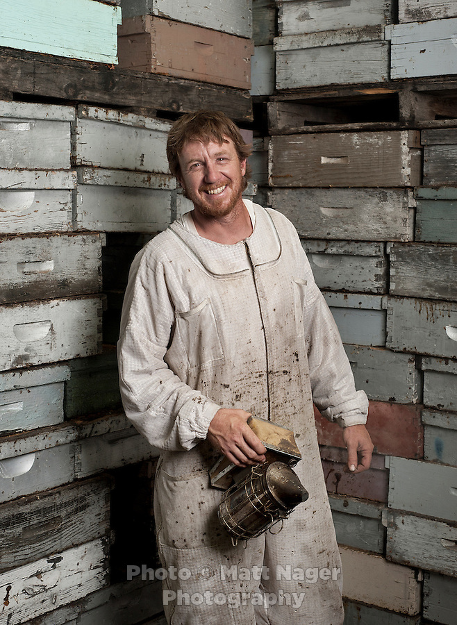 Bee keeper for Grampa's Gourmet Brent Edelen (cq) at his warehouse near Alamosa, Colorado, June 1, 2012. Bee keeping has been in Edelen's family for over six generations, originating in Switzerland...Photo by MATT NAGER