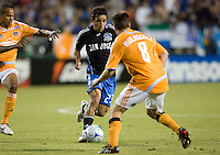 22 May 2008:  Ivan Guerrero of the Earthquakes dribbles the ball during the game against the Dynamo at Buck Shaw Stadium in San Jose, California.   San Jose Earthquakes defeated Houston Dynamo, 2-1.
