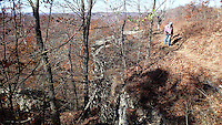 NWA Democrat-Gazette/FLIP PUTTHOFF <br /> Hikers near the end of a three-mile loop      Nov. 30 2016     around the top of White Rock Mountain.