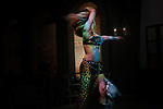 Aziza, belly dancing star, from Brazil, during a show at the intercontinental city star hotel in the rich suburb of Nasr city in Cairo.