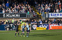 Michael Harriman of Wycombe Wanderers receives a yellow card for celebrating in the crowd during the Sky Bet League 2 match between Wycombe Wanderers and Mansfield Town at Adams Park, High Wycombe, England on 25 March 2016. Photo by Andy Rowland.