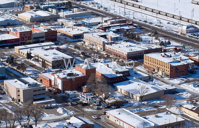 winter aerial of La Junta, CO
