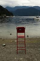 Life guard seat, Deep cove, North Vancouver, British Columbia, Canada.