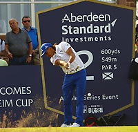Rickie Fowler USA on the 1st tee during the preview of the Aberdeen Standard Investments Scottish Open, Renaissance Club, North Berwick, East Lothian, Scotland. 11/07/2019.<br /> Picture Kevin McGlynn / Golffile.ie<br /> <br /> All photo usage must carry mandatory copyright credit (© Golffile | Kevin McGlynn)