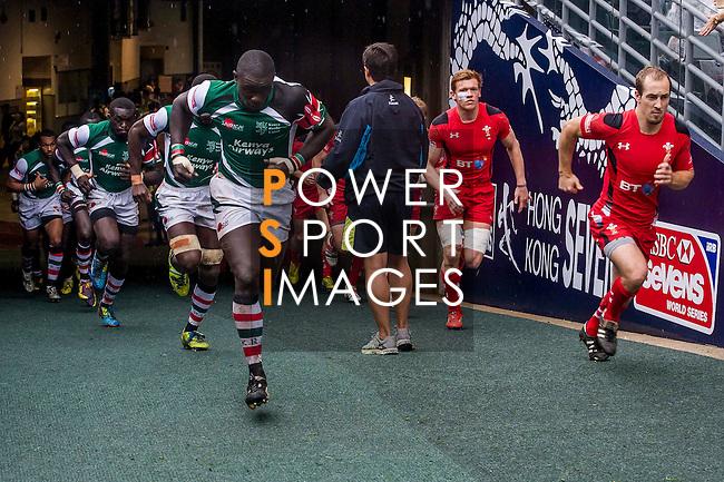 Kenya vs Wales during the Cathay Pacific / HSBC Hong Kong Sevens at the Hong Kong Stadium on 29 March 2014 in Hong Kong, China. Photo by Juan Flor / Power Sport Images