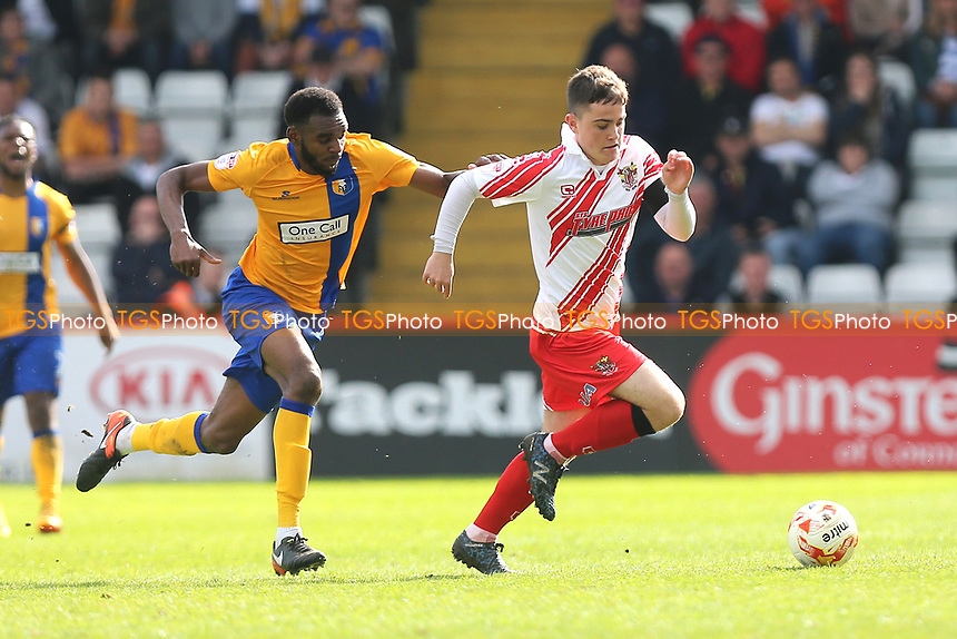 Jamie Gray of Stevenage and Hayden White of Mansfield Town during Stevenage vs Mansfield Town, Sky Bet EFL League 2 Football at the Lamex Stadium on 22nd April 2017