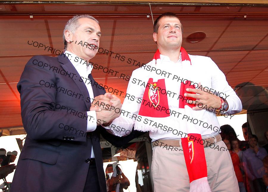 Fudbal Soccer<br /> Nenad Lalatovic (R) novi trener and Zvezdan Terzic Generalni sekretar FK Crvena Zvezda-Promocija<br /> Beograd, 06.25.2014.<br /> foto: Srdjan Stevanovic/Starsportphoto&copy;