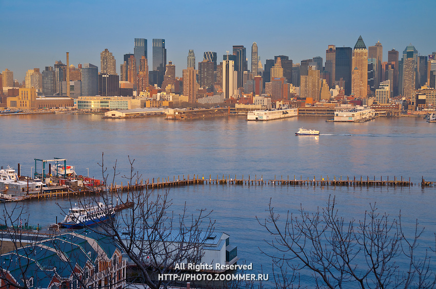 Port and piers in Hudson river in upper Manhattan