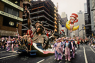 New York, U.S.A, 24th, November, 1988. The Statue of Liberty and Betty Boo seen at the famous Macy's Thanksgiving Parade.