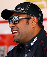 Aug. 2, 2014; Kent, WA, USA; NHRA top fuel dragster driver Khalid Albalooshi during qualifying for the Northwest Nationals at Pacific Raceways. Mandatory Credit: Mark J. Rebilas-