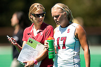 STANFORD, CA - SEPTEMBER 6: Coach Tara Danielson coaches Emily Henriksson against Michigan State on September 6, 2010 in Stanford, California.