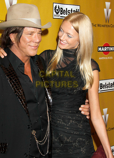 MICKEY ROURKE & ELENA KULETSKAYA.Weinstein Company Post Golden Globe Party held at Bar210 & Plush Ultra Lounge at the Beverly Hilton Hotel, Beverly Hills, California, USA..January 17th, 2009.half length black jacket dress snakeskin lapels brown beige cowboy hat stetson lace couple waistcoat croc globes.CAP/ADM/MJ.©Michael Jade/Admedia/Capital Pictures