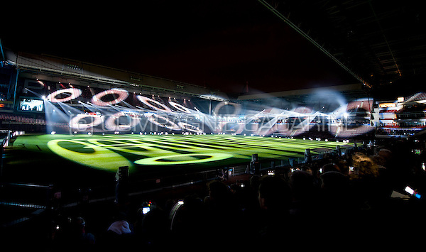The Clashlight installation from Noralie at the Glow Lightfestival inside the Philips Stadion in Eindhoven (Holland, 10/11/2013)