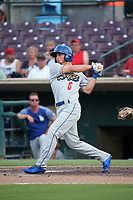 Brandon Montgomery (6) of the Rancho Cucamonga Quakes bats against the Inland Empire 66ers at San Manuel Stadium on July 9, 2017 in San Bernardino, California. Inland Empire defeated Rancho Cucamonga 12-2. (Larry Goren/Four Seam Images)