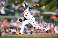 Baltimore Orioles pitcher Wesley Wright (40) during a Spring Training game against the Detroit Tigers on March 4, 2015 at Ed Smith Stadium in Sarasota, Florida.  Detroit defeated Baltimore 5-4.  (Mike Janes/Four Seam Images)