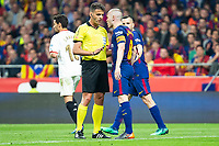 FC Barcelona Andres Iniesta talking with the referee during King's Cup Finals match between Sevilla FC and FC Barcelona at Wanda Metropolitano in Madrid, Spain. April 21, 2018. (ALTERPHOTOS/Borja B.Hojas)