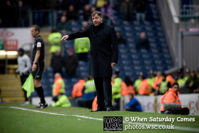 Blackburn Rovers manager Sam Allardyce making a point to his players from the touchline during the Barclays Premier League match against visitors Aston Villa at Ewood Park. Blackburn won the match by two goals to nil watched by a crowd of 21,848. It was Rovers' first match under the ownership of Indian company Venky's.