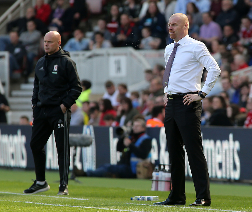 Burnley manager Sean Dyche  looks on from the touchline<br /> <br /> Photographer David Shipman/CameraSport<br /> <br /> The Premier League - Middlesbrough v Burnley - Saturday 8th April 2017 - Riverside Stadium - Middlesbrough<br /> <br /> World Copyright &copy; 2017 CameraSport. All rights reserved. 43 Linden Ave. Countesthorpe. Leicester. England. LE8 5PG - Tel: +44 (0) 116 277 4147 - admin@camerasport.com - www.camerasport.com